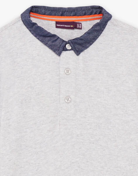 Boy's grey long sleeve polo with bear print BICLOAGE / 21H3PGJ1POLJ902