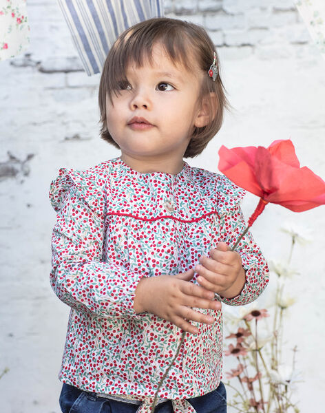 Long sleeve blouse with flowery print baby girl BAADELINE / 21H1BF11CHE001