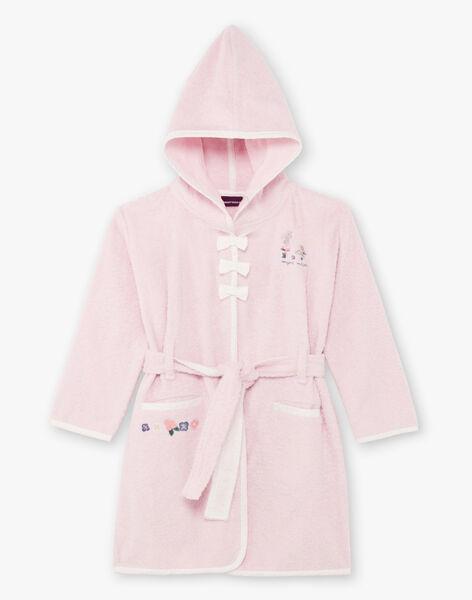 Girl's pink long sleeve hooded bathrobe BEBOPETTE / 21H5PF61PEI307