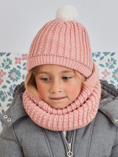 Girl's pale pink knitted hat BLODAETTE / 21H4PFD1BOND300
