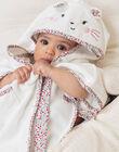 Baby girl's ecru and pink hooded bath cape BEBRUNE / 21H5BF61CDB001