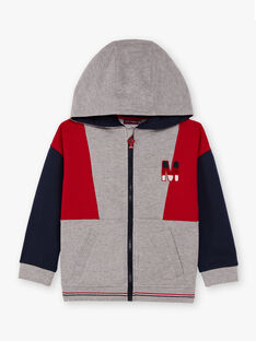 Baby boy's red and grey hoodie BASAGE2 / 21H3PG33JGH943