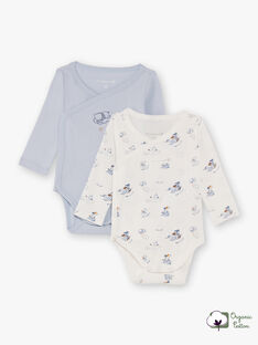 2 white and sky bodysuits birth boy BORYCE / 21H0NG41BOD219