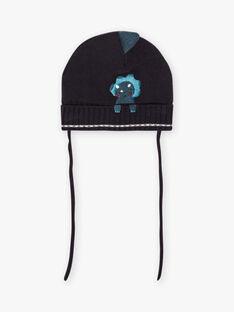 Baby boy petrol blue hat with dinosaur design BIMATHIS / 21H4BGC1BON715