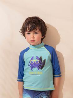 T-shirt anti-UV turquoise blue child boy ZYSURFAGE / 21E4PGR1TUV202