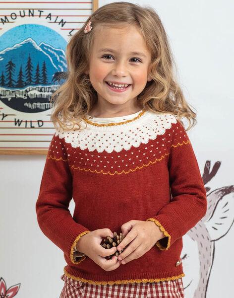 Girl's hazelnut jacquard sweater BULLETTE / 21H2PFJ1PUL821