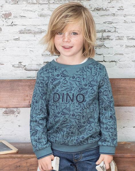 Boy's navy blue sweatshirt with dinosaur print BUWAGE2 / 21H3PGB1SWE614