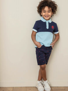 Bermuda shorts navy blue embroidery red boy child ZIMIAGE / 21E3PGT1BERC214