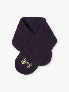 Girl's navy blue scarf with bow print BINICKY / 21H4BFC2ECH070