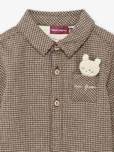 Baby boy's khaki houndstooth shirt with bear plush BASAINT / 21H1BGO1CHM814
