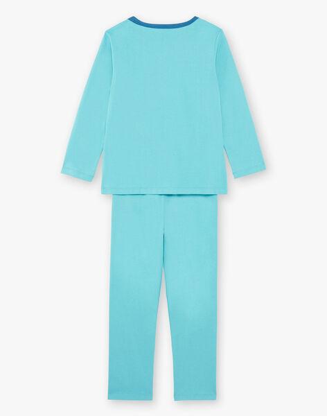 Turquoise fancy pyjamas with pouch and mask boy boy child ZIPIMAGE2 / 21E5PGF1PYTC216