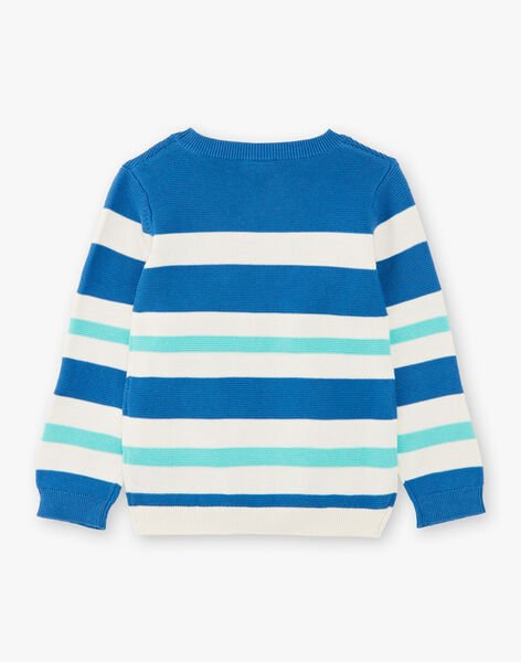 Blue sweater with white and green stripes ZADRAGE / 21E3PGJ1PULC206