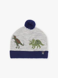 Two-colored beanie with dinosaur motif for boys BABANAGE / 21H4PGD1BON943