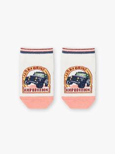 Boy's ecru and pink low socks TOSOCAGE / 20E4PGQ1SOB001