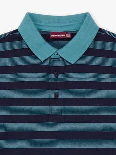 Boy's navy blue striped polo shirt BUXAGE3 / 21H3PGB1POL202