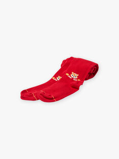 Plain red tights with fox pattern for girls BIZOUETTE / 21H4PF51COL050