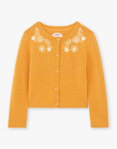 Girl's mustard vest with floral embroidery BUCARETTE / 21H2PFJ1CAR804