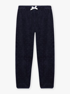 Girl's blue velvet pyjama set with fantasy motif BEBYGNETTE / 21H5PF73PYJ705