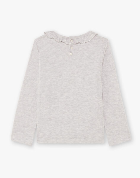 Girl's long-sleeved grey t-shirt with dalmatian and flowers BEBLIETTE / 21H2PF21TML943
