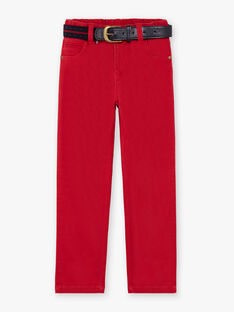 Boy's straight pants with red belt BUXIGAGE2 / 21H3PGB4PAN501