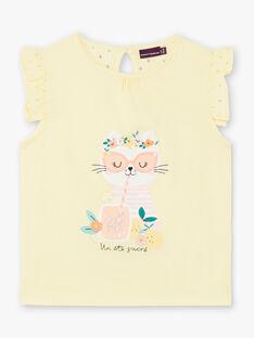 Lemon yellow t-shirt child girl ZILEMETTE / 21E2PFO1TMCB104