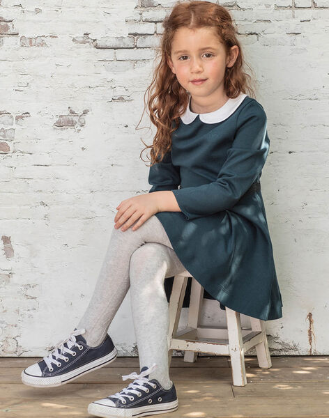 Long sleeve dress blue duck with claudine collar child girl BROCOLETTE3 / 21H2PFB1ROB714