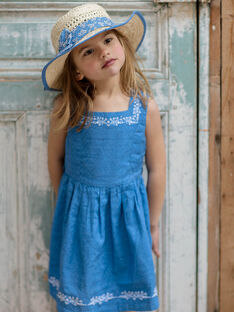 Reversible lavender blue dress with floral pattern child girl ZUREVETTE / 21E2PFT1CHSC208