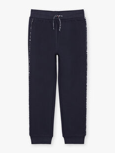 Baby girl navy blue jogging suit with printed details BROJAETTE / 21H2PFF1JGB070