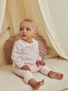 Pale pink body-blouse and pants set with floral print for a newborn girl BOLEONIE / 21H0CFK2ENS301