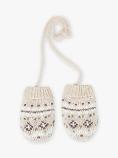 Baby boy jacquard knit mittens in beige BIRIVER / 21H4BGE4GANA011