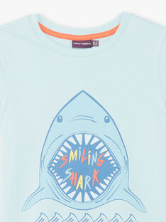 Blue T-shirt with shark pattern ZUZAGE1 / 21E3PGL3TMC614