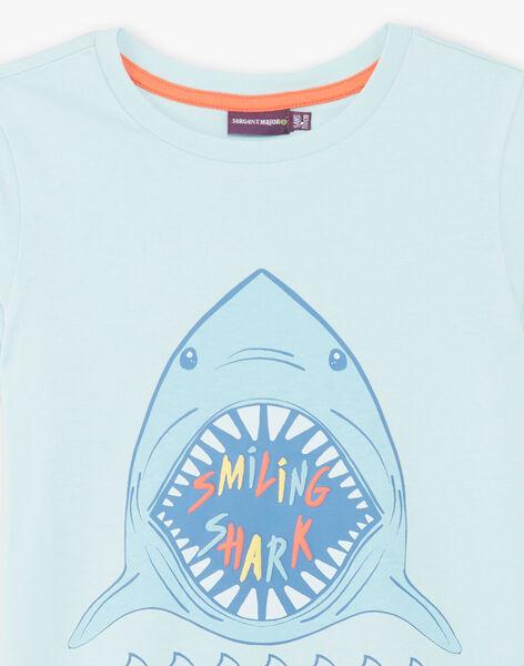Blue T-shirt with shark pattern ZUZAGE1 / 21E3PGL3TMC614
