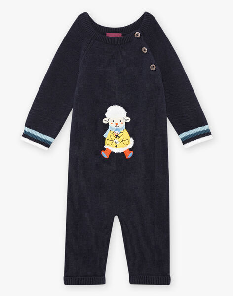 Baby boy's night blue knitted jumpsuit with fantasy sheep pattern BANEWMAN / 21H1BGL1CBLC205