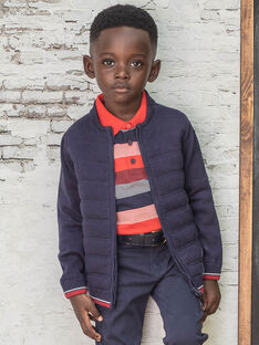 Boy's dark blue knitted cardigan BUXATAGE1 / 21H3PGB3GIL070