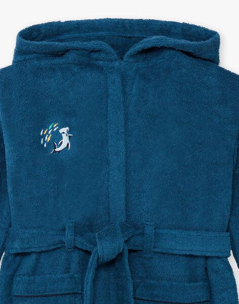 Boy's duck blue hooded bathrobe with shark design BEPEIGNAGE / 21H5PG61PEI714