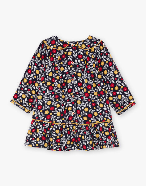 Baby girl navy blue and white floral print dress BAELLA / 21H1BF51ROB070