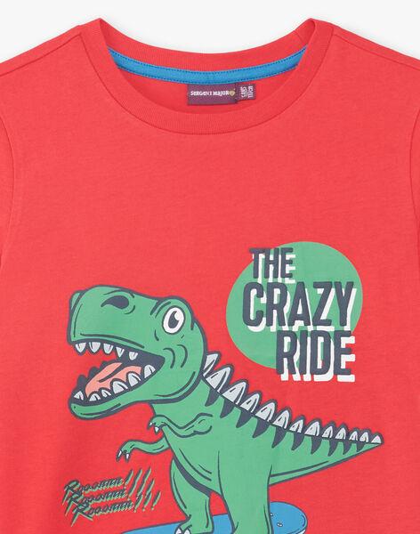 Red T-shirt with dinosaur pattern ZUZAGE3 / 21E3PGL2TMC050