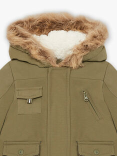 Baby boy's khaki hooded parka with integrated mittens BIRAPHAEL / 21H1BGE1PAR628