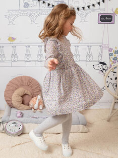 Girl's pink and white dress with flowery print BEROETTE / 21H2PF21ROB001