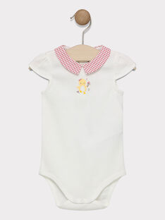 Baby girl's ecru bodysuit with printed collar SACECILE / 19H1BF31BOD001