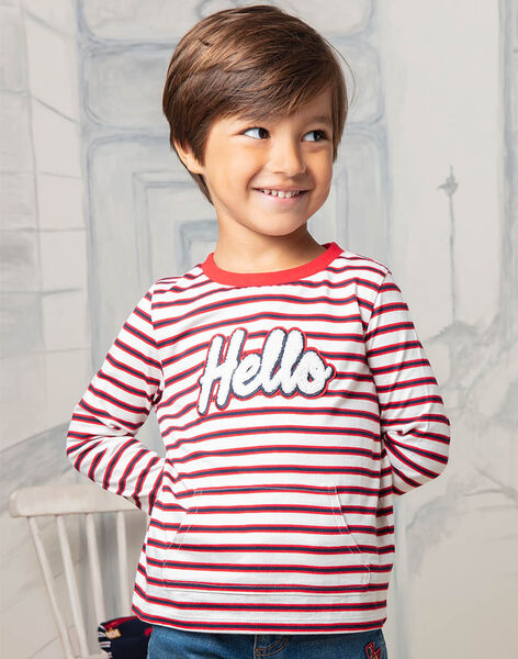 Boy's long sleeve striped T-shirt with Hello lettering BEBILAGE / 21H3PG52TML001