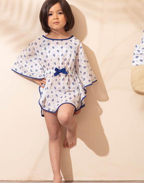 Girl's unbleached beach tunic with cashmere print ZAIRUETTE / 21E4PFR2TDP001