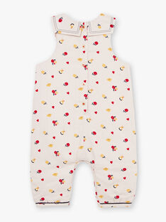 Beige sleeveless jumpsuit with floral print baby girl BAEMMA / 21H1BF51SALA011