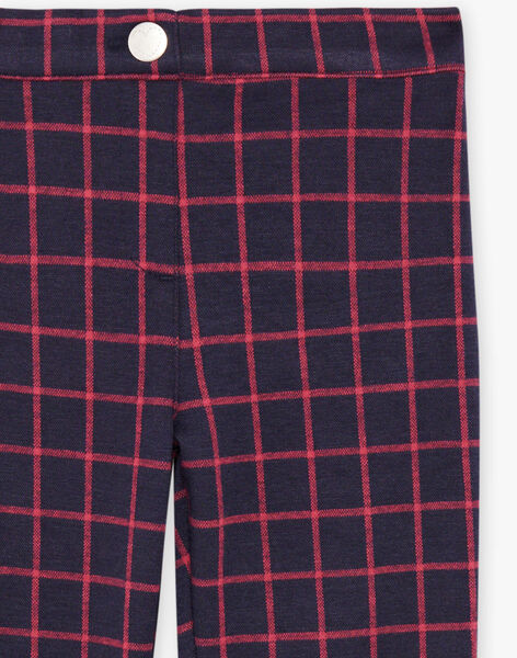 Girl's ink blue pants with red check BROMILETTE3 / 21H2PFB5PANC214