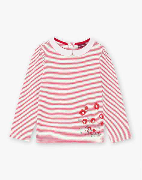 Baby girl white and red stripes T-shirt BACHETTE / 21H2PF11TMLF505
