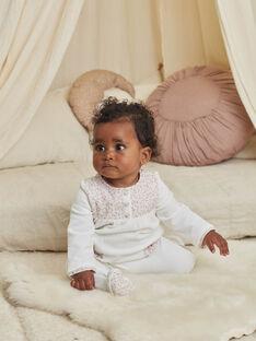 Off white romper and velvet cap with fancy print for a newborn girl BONNETA / 21H0NFK1GRE001