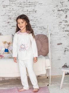 Girl's pink and ecru T-shirt and pants pyjama BEBULETTE / 21H5PF61PYJ001