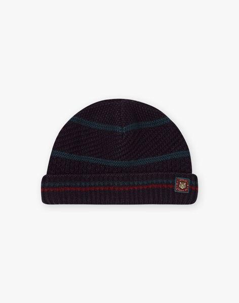 Boy's petrol blue striped knitted hat BATETAGE / 21H4PGD3BON715