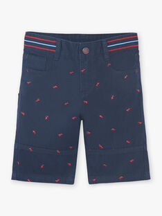 Bermuda shorts navy blue embroidery red boy child ZIMIAGE / 21E3PGT1BERC214