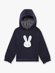 Girl's navy blue reversible sequin sweater with rabbit print BROZOETTE / 21H2PFF1SWE070